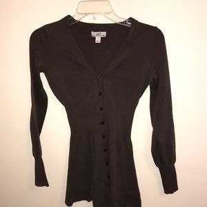 Womens Small Long Sleeve Brown Button Up Cardigan